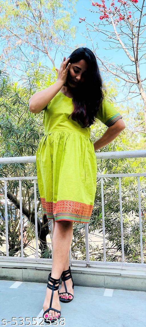 Green Ilkal Cotton Dress
