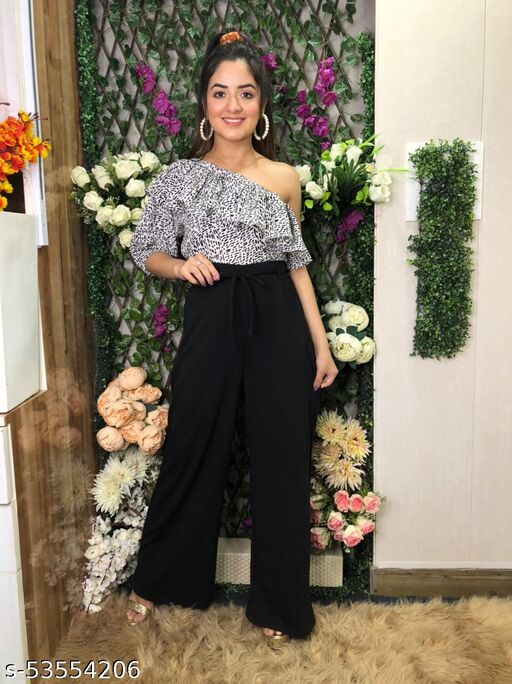 Stylish One Solder , Frilled, Wide Leg, Printed  Jumpsuit For Women