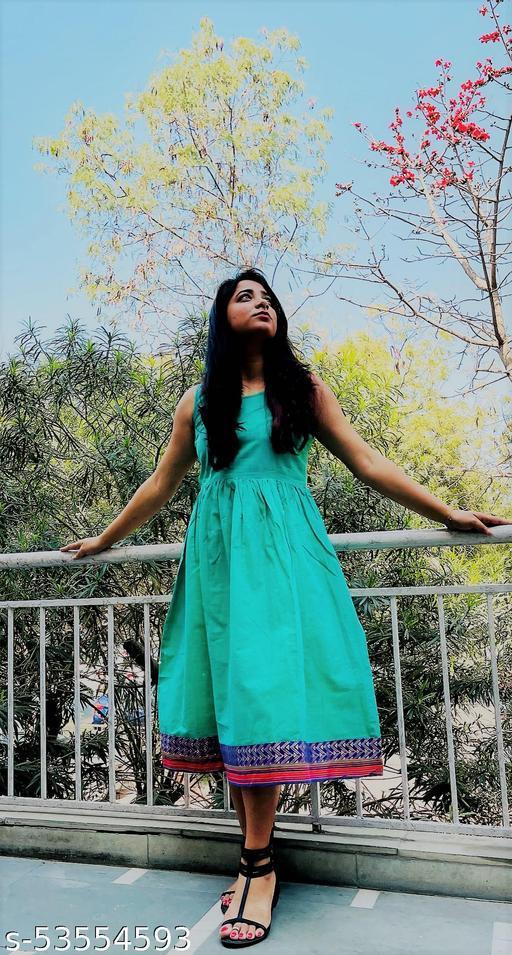Turquoise Ilkal Cotton Midi Dress