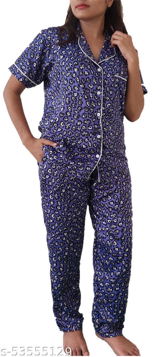 Silk Night Suit- Shirt & Pyjama set with Flower Print