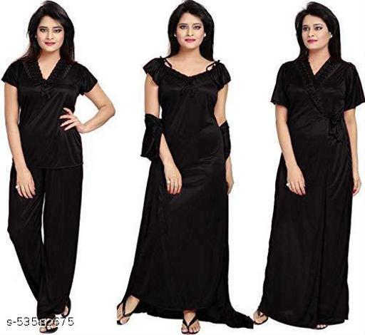 Women's Satin Nighty 4 Set (Housecoat, Nighty, Top, Pajama)