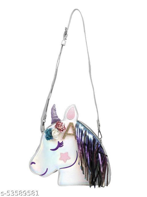 ITSABABYCOMPANY Designer Silver Unicorn Face Kids Sling Bag