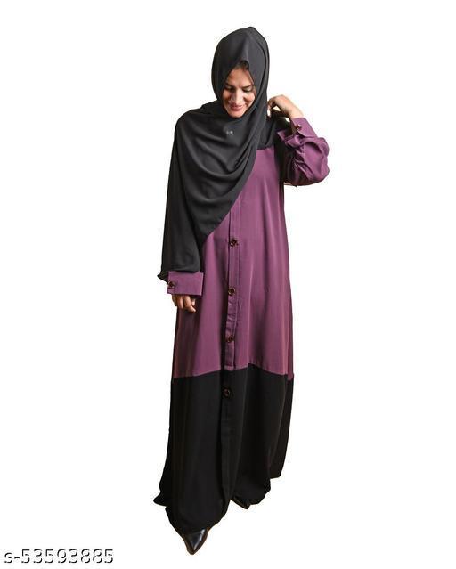 Modest Attires Lylah Abaya 2 shaded Classy Abaya Arabian Premium Poly Chifffon Polyester Solid Abaya Without Hijab