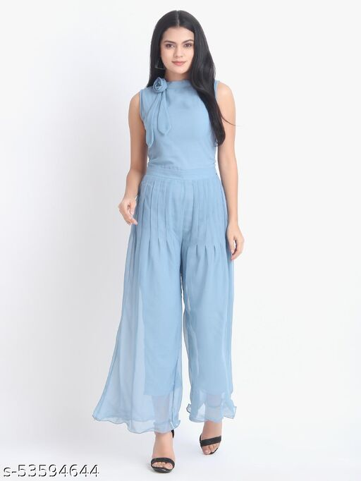 Women Casual Solid Light Blue Sleeveless Full Length Georgette Jumpsuit