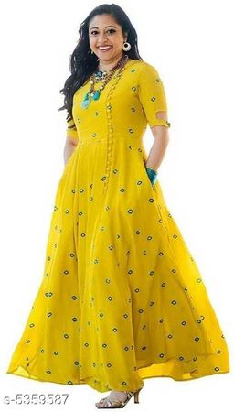 Women Rayon Flared Embroidered Yellow Kurti