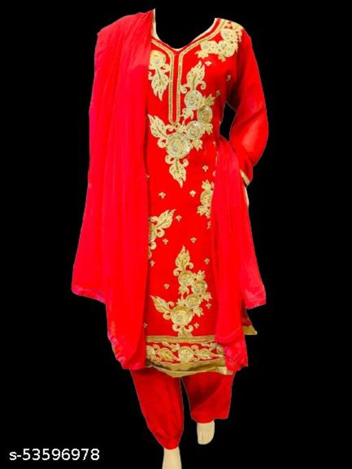 Classic curve georgette stitched Salwar Suit with chiffon dupatta for women's (X-Large)