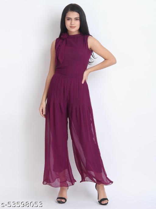 Women Casual Solid Maroon Sleeveless Full Length Georgette Jumpsuit