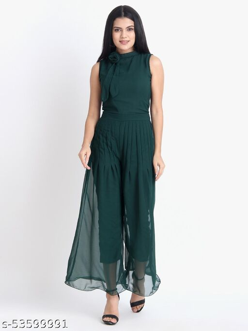 Women Casual Solid Green Sleeveless Full Length Georgette Jumpsuit