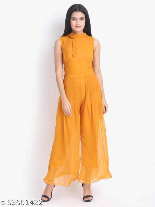 Women Casual Solid Orange Sleeveless Full Length Georgette Jumpsuit