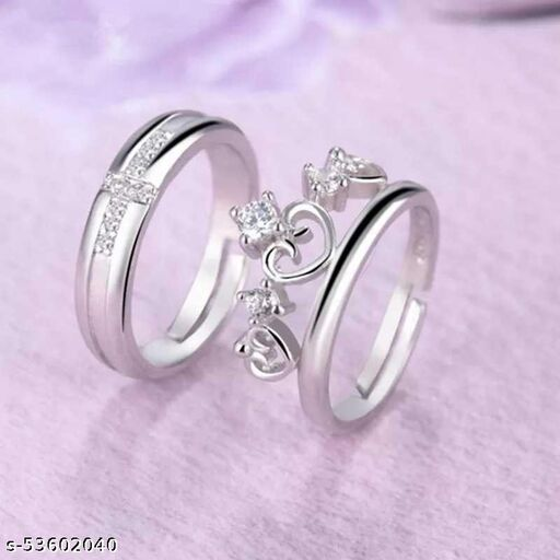 King and Queen Crown Couple Ring Set Alloy Cubic Zirconia Ring Set