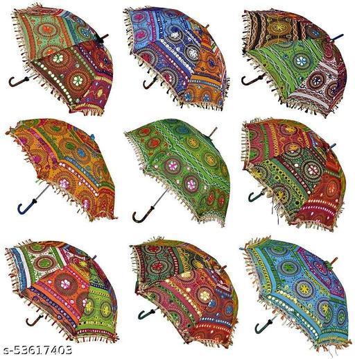 Sun Protection Rajasthani Umbrella Handicraft Walking Stick Umbrella 10 pcs Navratri Decoration Items I Decorative Umbrella ( Diwali Decoration Umbrella ) ( Set of 10 )