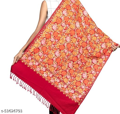 Stylish Red Heavy Aari Embroidery Stole/ Shawl for Women