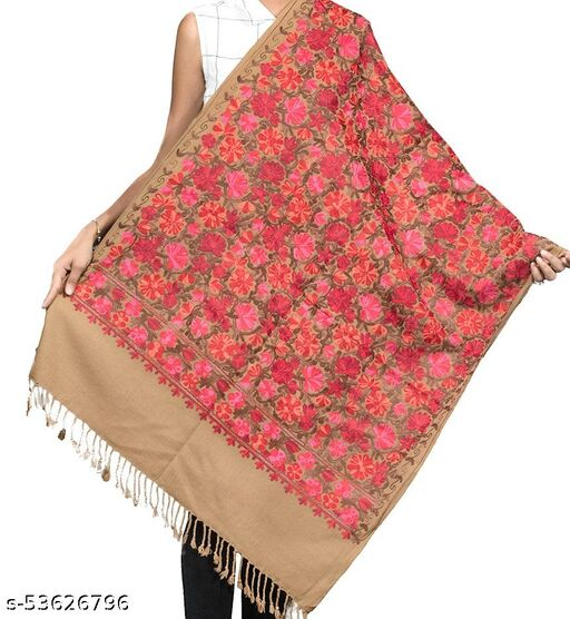 Stylish Beige Heavy Aari Embroidery Stole/ Shawl for Women