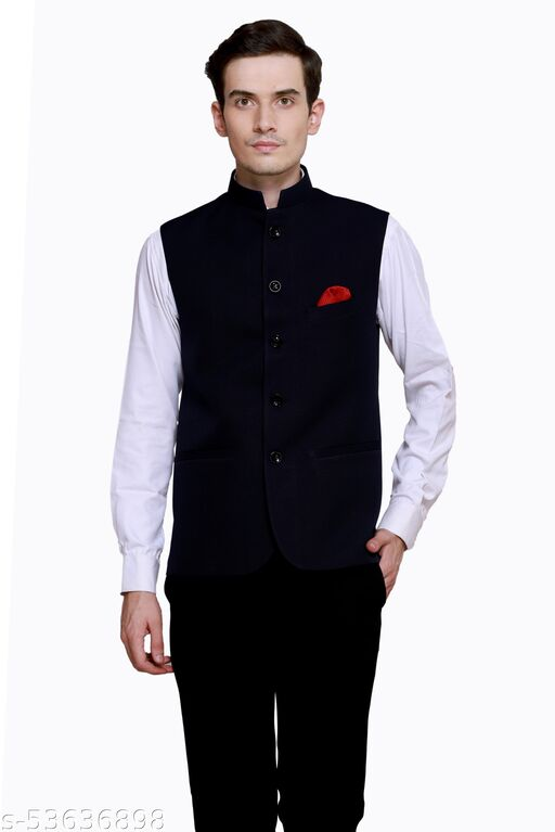 Mighty Carlo Men's Slim Fit Bandhgala Festive Nehru Jacket Jacket/Waistcoat (Color-Dark Blue) Available in 6 Size