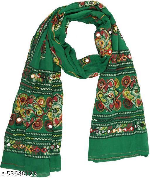 Mona'sk Women's Embroidery Mirror Work Multi-Color Kutch Work Cotton Dupatta For Navratri Festival