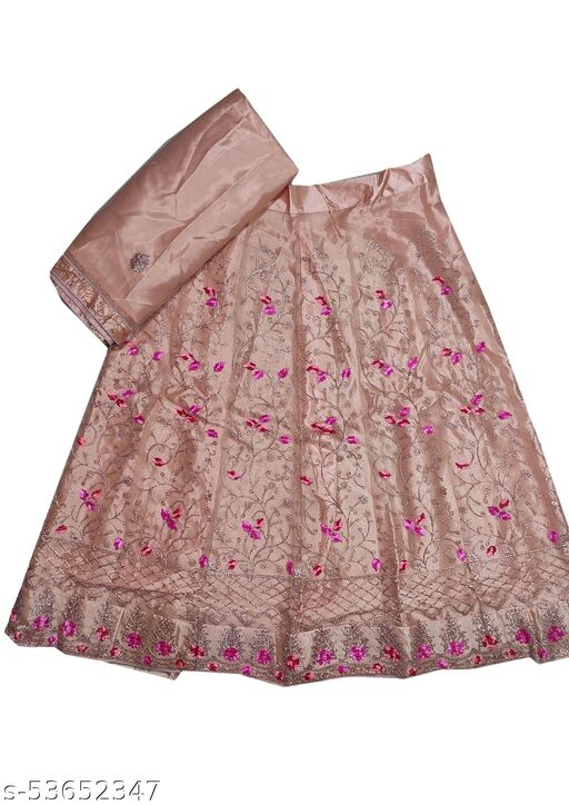 Pink Embroidered Semi-Stitched Party Lehenga & Blouse with Dupatta