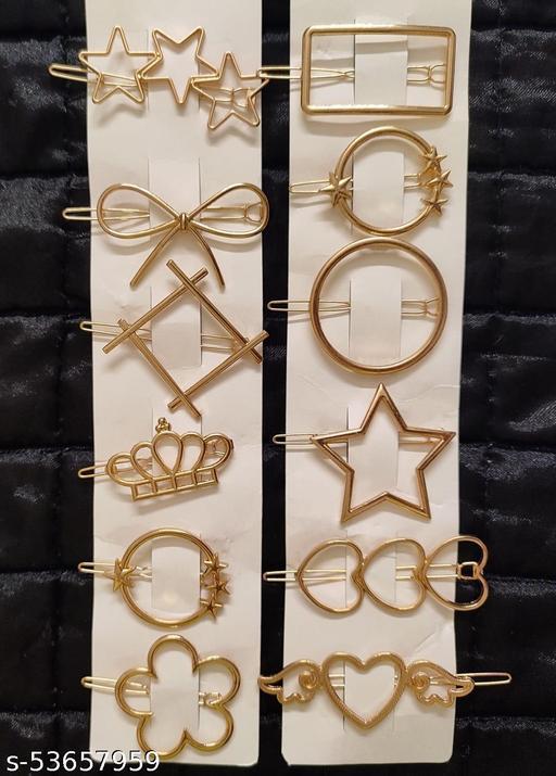 Stylish Pearl Hair Pins Set- Golden-S12