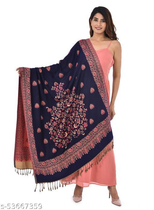 Poly Wool Soft Fabric Womens Shawl