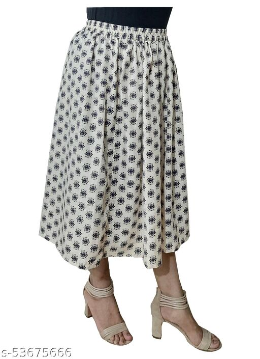 Cream Booti Print calf length Gather Polyster skirt