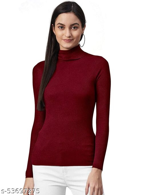LOVO Women's Woollen Warm Full Sleeves High Neck/Inner/Skivvy for Winters Pack of 1 - Free Size - Maroon