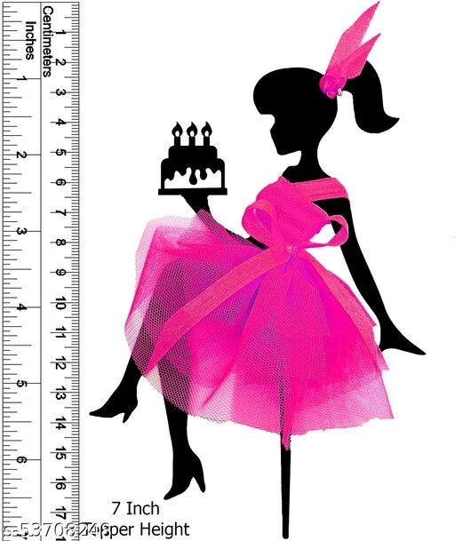 Fabulous Sitting Girl Birthday Cake Topper - MDF {Wood} - Fine Laser-Cut - Long Life Cake Party Decoration Item - (Pack of 1) (PINK)