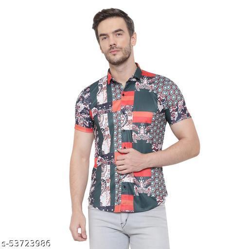 Men Slim Fit Printed Button Down Collar Casual Shirt