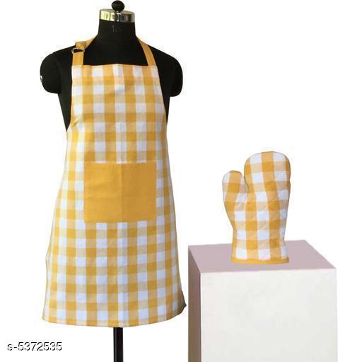 Stylish Kitchen Cotton Aprons  & Oven Mitten