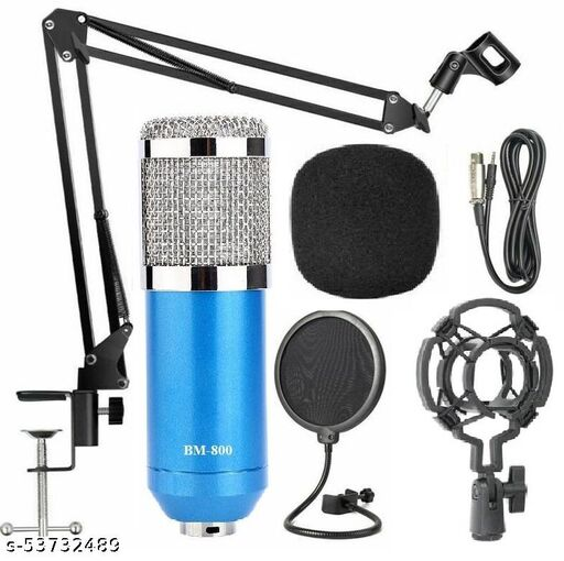 Techtest BM800 Microphone for Voice Recording With Adjustable Mic Suspension Scissor Arm Shock Mount and Double-Layer Pop Filter for Studio Recording & Broadcasting, Microphone for Singing, Microphone for Studio Recording  (Blue)
