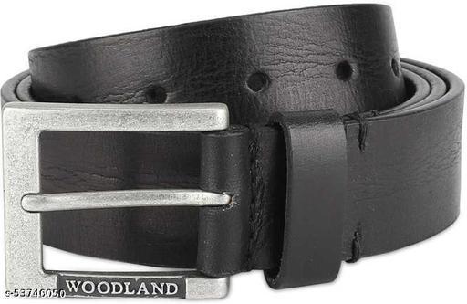 Woodland Men Black Genuine Leather Belt
