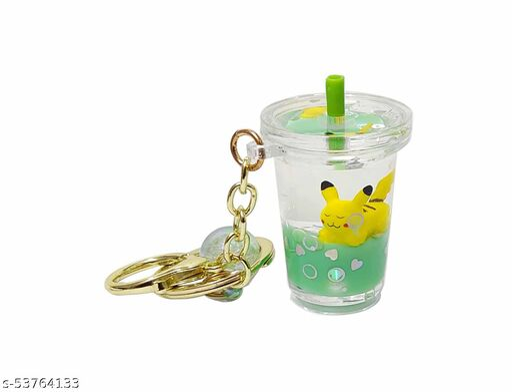 Floating Creative Cute Pikachu Liquid Filled Acrylic Bottle Key Chain with Charm.(Orange) 1 Piece.