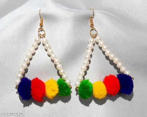 Women fashionable pompom earrings