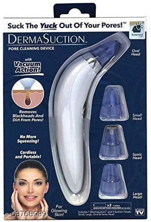 Pimple Pore Cleaning Blackhead Whitehead Extractor/Remover/Vacuum Action Device with 4 Interchangeable Suction Head for Men and Women Pack of 1