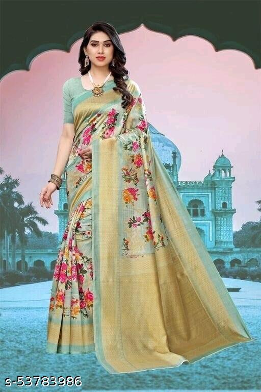 Binal Digital Printed Khadi Silk Saree with Blouse