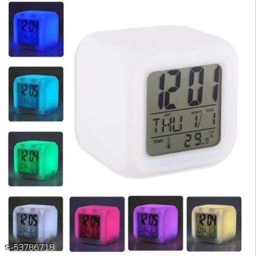 Glowing LED Table Alarm Clock / 7 Color Changing/Digital Display of Time & Temperature (White)