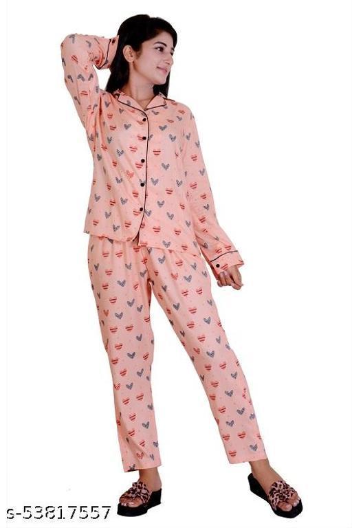 Tekan Women Printed Nighty shirt and pyjama set white
