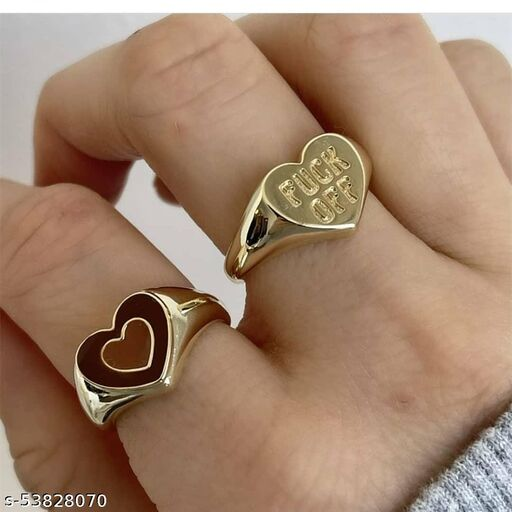 Arzonai Fuck off Brown Double Heart Brown Ring For Women and Girls