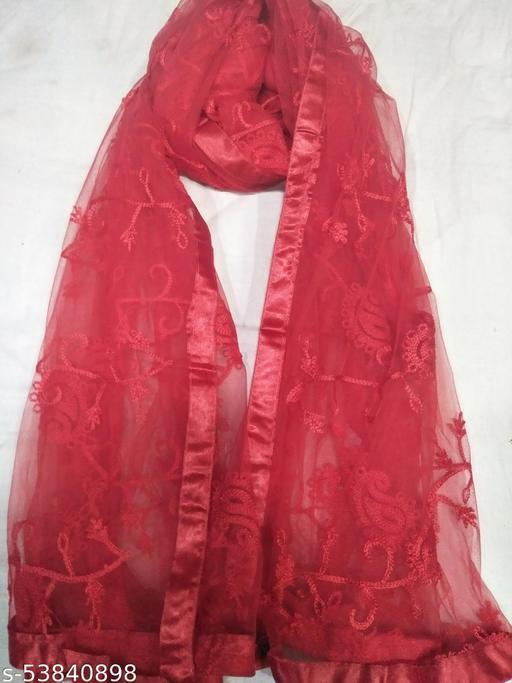 Stunning Red Nazlin Net Embroidered Dupatta