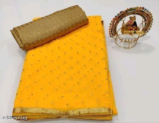 Foil print chiffon saree with blouse piece