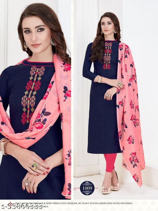 Gorgeous Navy Blue Colored Casual & Festive  Wear Embroidered Cotton Dress Material