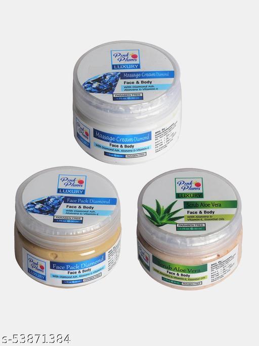 Pink Plums Diamond  Aloevera Face & Body Massage creams Face Pack & Exfoliating Scrub 50 ML