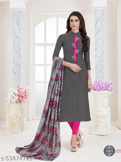 Gorgeous Grey Colored Casual & Festive  Wear Embroidered Cotton SuitsMaterial