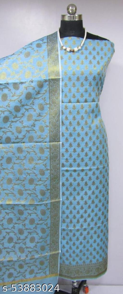 (K4Aqua Blue) Fabulous Banarsi Cotton Suit And Dress Material