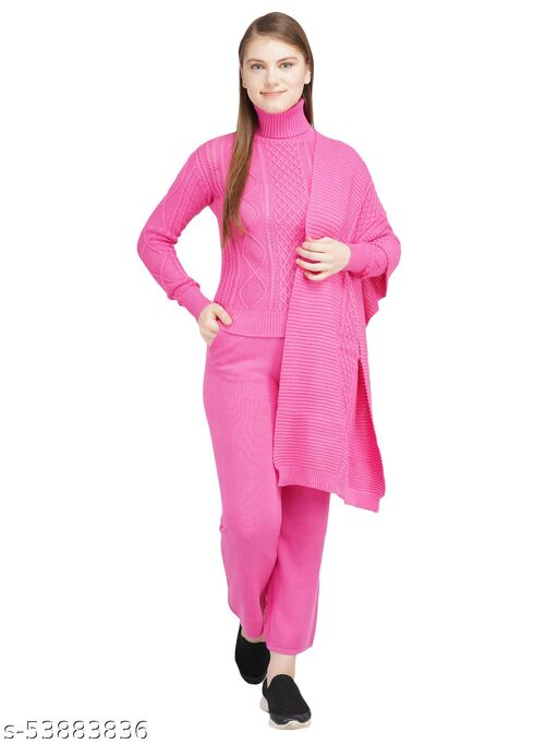 Knotty Women'S Pure Cotton Pink High Neck Full Sleeve Solid Sweater Top, Pant & Stoll (3 Pcs Set)