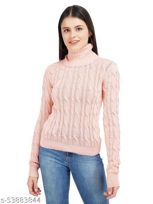 Knotty Women'S Pure Cotton Rose High Neck Full Sleeve Solid Sweater For Winter