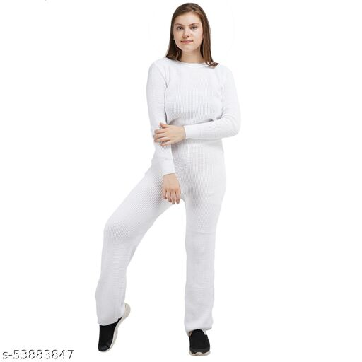 Knotty Women'S Pure Cotton White Round Neck Full Sleeve Solid Sweater Top & Pant (2 Pcs Set) Tracksuit For Winter