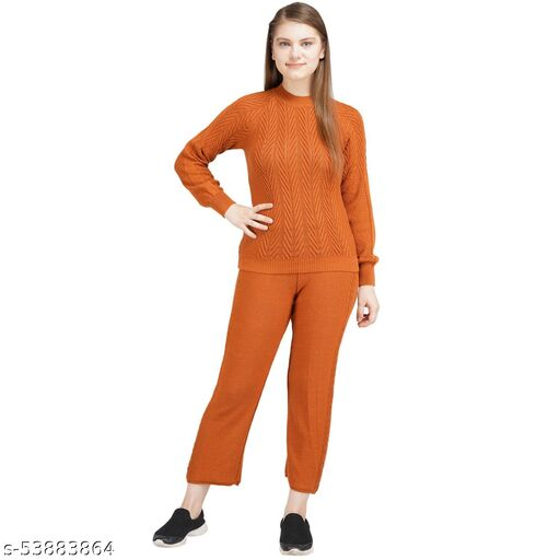 Knotty Women'S Pure Cotton Musterd Round Neck Full Sleeve Solid Sweater Top & Pant (2 Pcs Set) Tracksuit For Winter