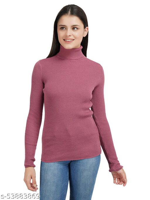 Women'S Pure Cotton Mesa Rose High Neck Full Sleeve Solid Sweater For Winter