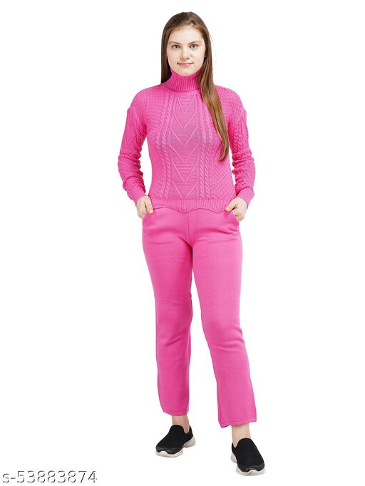 Knotty Women'S Pure Cotton Pink High Neck Full Sleeve Solid Sweater Top & Pant (2 Pcs Set) Tracksuit For Winter