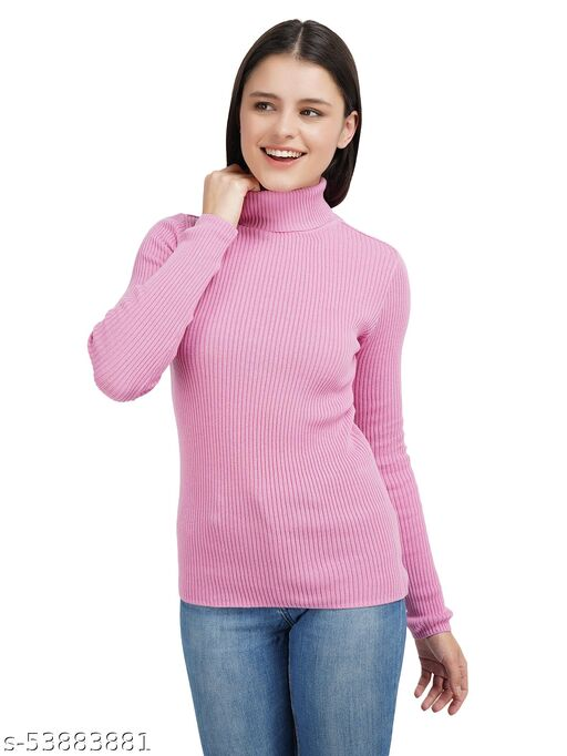 Knotty Women'S Pure Cotton Pink High Neck Full Sleeve Solid Sweater For Winter