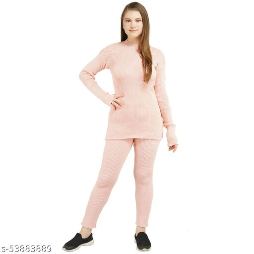 Knotty Women'S Pure Cotton Rose Round Neck Full Sleeve Solid Sweater Top & Pant (2 Pcs Set) Tracksuit For Winter